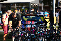 CANYON//SRAM Racing Mechanic, Jochen Lamade prepares team bikes ahead of La Course by Le Tour de France 2018, a 112.5 km road race from Annecy to Le Grand Bornand, France on July 17, 2018. Photo by Sean Robinson/velofocus.com