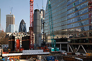 Construction site of modern glass offices at Moorgate in the City of London, England, United Kingdom. As Londons financial district grows in height, the architecture has changed the face of Londons financial district, with many different companies occupying the various floors and levels.