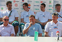 Dusan Sesok, Zoran Jankovic and Ales Pipan at press conference and after time with fans of Slovenian basketball National Team before departure to Athens for Olympic qualifications, on July 12, 2008, at Presernov trg, in Ljubljana, Slovenia. (Photo by Vid Ponikvar / Sportal Images)