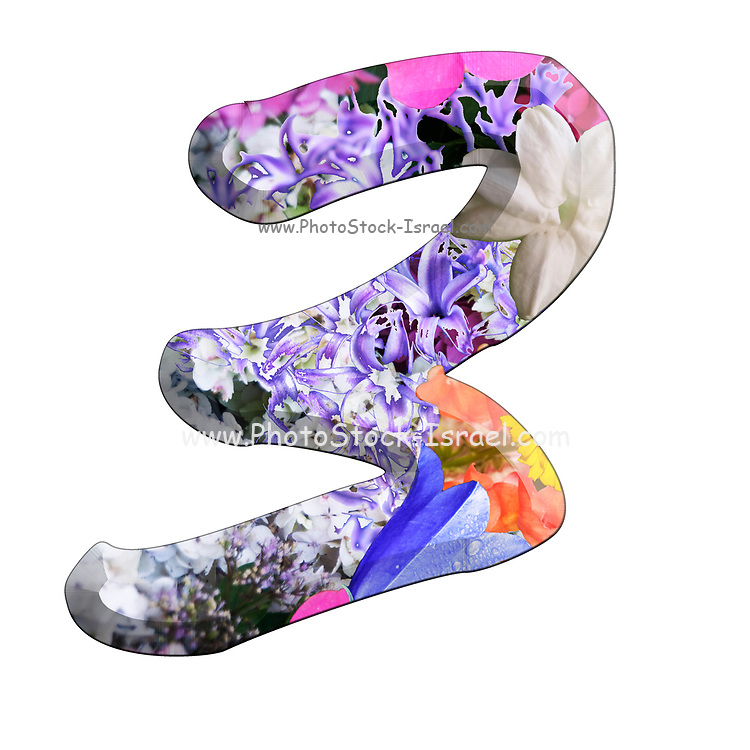 The number Three Part of a set of letters, Numbers and symbols of 3D Alphabet made with colourful floral images on white background