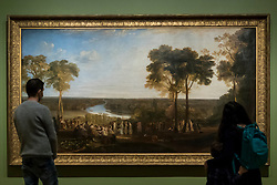 "© Licensed to London News Pictures. 26/10/2020. LONDON, UK. ""England: Richmond Hill, on the Prince Regent's Birthday"", 1819, by JMW Turner. Preview of ""Turner's Modern World"", a new landmark exhibition of over 150 works exhibition by JMW Turner at Tate Britain, 28 October to 7 March 2021.  Photo credit: Stephen Chung/LNP"