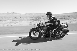 Jim Petty riding his 1927 Indian Chief during Stage 12 (299 m) of the Motorcycle Cannonball Cross-Country Endurance Run, which on this day ran from Springville, UT to Elko, NV, USA. Wednesday, September 17, 2014.  Photography ©2014 Michael Lichter.