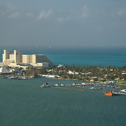 Aerial view of hotel zone. Cancun, Quintana Roo. Mexico