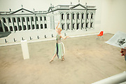 Dancer, Pablo Bronstein, Sketches for Regency Living. Private view. ICA. The Mall. London. 8 June 2011. <br /> <br />  , -DO NOT ARCHIVE-© Copyright Photograph by Dafydd Jones. 248 Clapham Rd. London SW9 0PZ. Tel 0207 820 0771. www.dafjones.com.