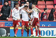 Sheffield United celebrate Sheffield United forward Billy Sharp scoring to go 1-0 up during the Sky Bet League 1 match between Sheffield Utd and Port Vale at Bramall Lane, Sheffield, England on 20 February 2016. Photo by Ian Lyall.