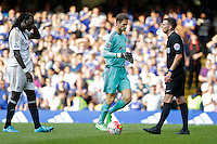 Chelsea's Asmir Begovic brought on as a substitute (to replace the sent off Thibaut Courtois) and has to face the penalty of Swansea City's Bafetibis Gomis as his first action<br /> <br /> Photographer Craig Mercer/CameraSport<br /> <br /> Football - Barclays Premiership - Chelsea v Swansea City - Saturday 8th August 2015 - Stamford Bridge - London<br /> <br /> © CameraSport - 43 Linden Ave. Countesthorpe. Leicester. England. LE8 5PG - Tel: +44 (0) 116 277 4147 - admin@camerasport.com - www.camerasport.com