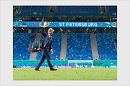 After the team has left the pitch, Finland head coach Markku Kanerva comes alone to thank the fans. Finland - Belgium. Euro 2020. Saint Petersburg, Russia, June 21, 2021.