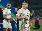 Twickenham. Great Britain.<br /> England captain, Dylan HARTLEY with the Triple Nations Shield/Plate/Trophy. RBS Six Nations Rugby, England vs Wales at the RFU Twickenham Stadium. England.<br /> <br /> Saturday  12/03/2016 <br /> <br /> [Mandatory Credit; Peter Spurrier/Intersport-images]