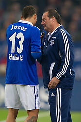 19.11.2011, Veltins Arena, Gelsenkirchen, GER, 1. FBL, FC Schalke 04 vs 1. FC Nuernberg, im Bild Jermaine Jones (#13 Schalke), Huub Stevens (Trainer Schalke) // during FC Schalke 04 vs. 1. FC Nuernberg at Veltins Arena, Gelsenkirchen, GER, 2011-11-19. EXPA Pictures © 2011, PhotoCredit: EXPA/ nph/ Kurth..***** ATTENTION - OUT OF GER, CRO *****