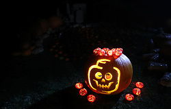 A jack-o-lanterns from the new pumpkin patch at Legoland Windsor Resort in Miniland, ahead of their Halloween 'brick or treat' season.