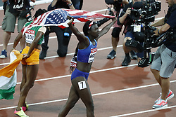 USA's Tori Bowie celebrates after winning the 100 meters women during the IAAF World Athletics 2017 Championships In Olympic Stadium, Queen Elisabeth Park, London, United Kingdom on August 6th, 2017 Photo by Henri Szwarc/ABACAPRESS.COM