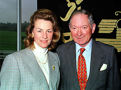 MR & MRS BARRY HILLS he is the race horse trainer, at a race meeting in Berkshire on 19th September 1999.MWM 10