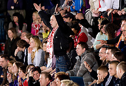 Spectators during 3rd Main Round of Women Champions League handball match between RK Krim Mercator, Ljubljana and Larvik HK, Norway on February 19, 2010 in Arena Kodeljevo, Ljubljana, Slovenia. Larvik defeated Krim 34-30. (Photo by Vid Ponikvar / Sportida)