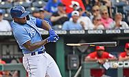 Kansas City Royals designated hitter Jorge Soler (12) brakes his bat on a fielders choice during the fourth inning against the Cincinnati Reds at Kauffman Stadium.