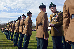 © Licensed to London News Pictures. 15/03/2014. Tern Hill, UK The Soldiers of 1st Battalion The Royal Irish Regiment have celebrated St. Patrick's Day with a parade attended by HRH The Duke of York. The Battalion paraded in front of the Officers' Mess at Clive Barracks in Tern Hill London on the morning of Sat 15 Mar in front of a crowd of more than 200 friends and family. HRH The Duke of York, who is the Colonel in Chief of the Regiment who also presented awards to a selection of soldiers. Photo credit : Sgt Russ Nolan RLC/LNP