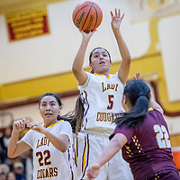 Tohatchi Cougar Kalian Mitchell (5) attempts a three-point goal on the Rehoboth Lynx at Tohatchi High School Saturday.