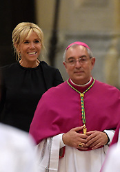 Brigitte Macron smiles as her husband France's President Emmanuel Macron is inducted as honorary canon of The Basilica of St.John's in Rome,Italy the Pope's cathedral in his capacity as bishop of the Italian capital on June 26, 2018. The french head of state has traditionally been given the title since French kings made large donations to support the cathedral in the 15th century. Photo by Eric Vandeville/ABACAPRESS.COM