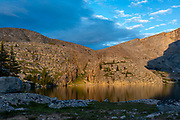 Sunset over  Lost Twin Lakes, Big Horn National Forest, Ten Sleep, Wyoming.