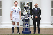 Dylan Hartley, the England Captain & Eddie Jones, the England Head Coach pose with the Six Nations Trophy. RBS Six Nations 2017 media launch at the Hurlingham Club, Ranelagh Gardens in London on Wednesday 25th January 2017.<br /> pic by John Patrick Fletcher, Andrew Orchard sports photography.