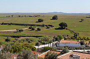 Rolling undulating countryside grass fields farming landscape from village of Castro Verde, Baixo Alentejo, Portugal, southern Europe