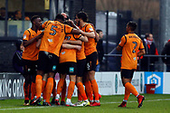 John Akinde of Barnet (hidden) celebrates with his team mates after he scores his team's first goal. EFL Skybet Football League two match, Barnet v Lincoln City at the Hive in London on Saturday 20th January 2018. <br /> pic by Steffan Bowen, Andrew Orchard sports photography.