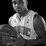 Jameer Nelson poses in front of a backdrop during the Orlando Magic media day event at the Amway Arena on Monday, September 30, 2103 in Orlando, Florida. (AP Photo/Alex Menendez)
