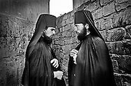 Monks, Saba and Nika, after the last prayer of the day. Sapara Monastery. Sapara. 2001.