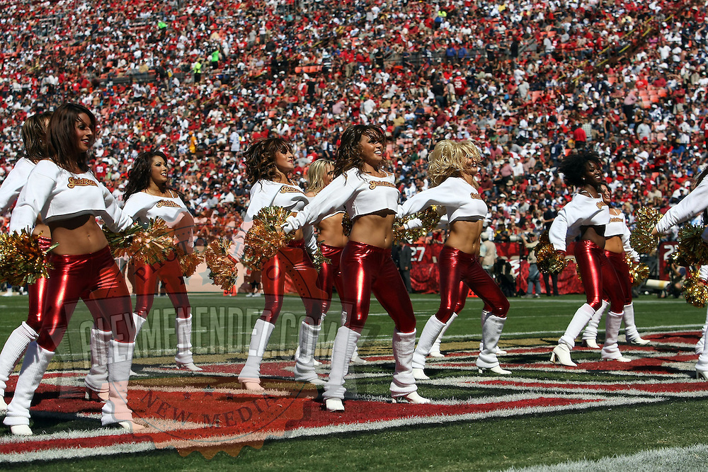 SF Cheerleaders during an NFL football game between the Dallas Cowboys and the San Francisco 49ers at Candlestick Park on Sunday, Sept. 18, 2011 in San Francisco, CA.  (Photo/Alex Menendez)