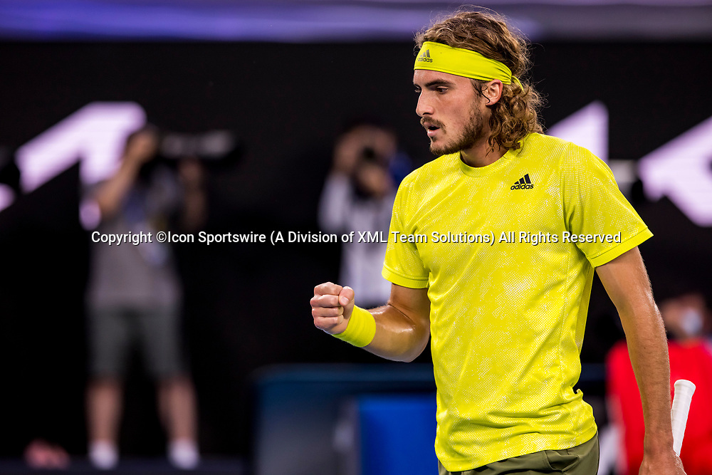MELBOURNE, VIC - FEBRUARY 17: Stefanos Tsitsipas of Greece celebrates after winning a game during the quarterfinals of the 2021 Australian Open on February 17 2021, at Melbourne Park in Melbourne, Australia. (Photo by Jason Heidrich/Icon Sportswire)