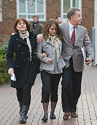 © Licensed to London News Pictures. 28/11/2011. London, UK. KATHERINE GOLDBERG (centre) leaving Isleworth Crown Court with her parents today (28/11/2011) where she received 11 months of community service and a £1,500 fine for  groping a Virgin Airways steward and demanding sexual intercourse while drunk on a flight. Photo credit : Photographers name/LNP