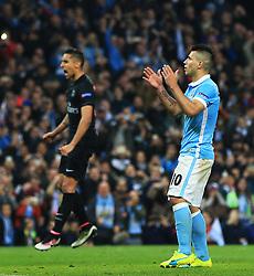 Marquinhos of Paris Saint-Germain reacts as Sergio Aguero of Manchester City misses a penalty - Mandatory byline: Matt McNulty/JMP - 07966386802 - 12/04/2016 - FOOTBALL - Etihad Stadium -Manchester,England - Manchester City v Paris Saint-Germain - UEFA Champions League - Quarter Final Second Leg