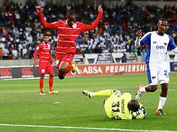 Davies Nkausu of Free State Stars leaps over Johnny Mathole of Free State Stars during the 2016 Premier Soccer League match between Chippa United and Free State Stars held at the Nelson Mandela Bay Stadium in Port Elizabeth, South Africa on the 23rd August 2016<br /><br />Photo by:   Richard Huggard / Real Time Images
