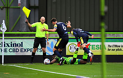 Luke Prosser of Stevenage fouls Jamille Matt of Forest Green Rovers- Mandatory by-line: Nizaam Jones/JMP - 17/10/2020 - FOOTBALL - innocent New Lawn Stadium - Nailsworth, England - Forest Green Rovers v Stevenage - Sky Bet League Two