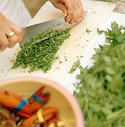 Food preparation, Puglia, Italy.