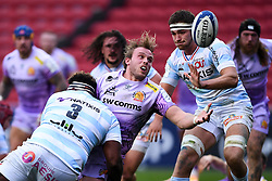 Jonny Gray of Exeter Chiefs is challenged by Georges Henri Colombe of Racing 92 - Mandatory by-line: Ryan Hiscott/JMP - 17/10/2020 - RUGBY - Ashton Gate Stadium - Bristol, England - Exeter Chiefs v Racing 92 - Heineken Champions Cup Final