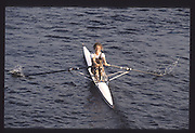 London. United Kingdom.  Annabel ERYES. 1990 Scullers Head of the River Race. River Thames, viewpoint Chiswick Bridge Saturday 07.04.1990<br /> <br /> [Mandatory Credit; Peter SPURRIER/Intersport Images] 19900407 Scullers Head, London Engl