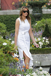 U.S. First Lady Melania Trump pose in the garden of the Villa Arnaga, House-museum of Edmond Rostand, during a visit on traditional Basque culture in Combo-les-Bains, near Biarritz as part of the G7 summit, August 25, 2019. Photo by Thibaud Moritz/ABACAPRESS.COM