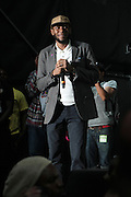 """June 2, 2012- Philadelphia, PA, United States: Recording Artist Yasiin Bey aka Mos Def performs at the 5th Annual ROOTS Picnic held at Festival Pier at Penn's Landing in Philadelphia, PA . The Roots is an American hip hop/neo soul band formed in 1987 by Tariq """"Black Thought"""" Trotter and Ahmir """"Questlove"""" Thompson in Philadelphia, Pennsylvania. They are known for a jazzy, eclectic approach to hip hop which includes live instrumentals.(Photo by Terrence Jennings)"""