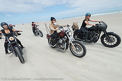 Samantha Campana, Tracy Herndon, Leticia Cline and the Iron Lillies on the beach for the Hot Leathers ride during the Daytona Bike Week 75th Anniversary event. FL, USA. Tuesday March 8, 2016.  Photography ©2016 Michael Lichter.