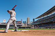 Nate McLouth #9 of the Baltimore Orioles waits on-deck during a game against the Minnesota Twins on May 12, 2013 at Target Field in Minneapolis, Minnesota.  The Orioles defeated the Twins 6 to 0.  Photo: Ben Krause