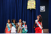 Students dressed in traditional attire from various parts of the world perform in a fashion show during the Pomeroy Multicultural Festival at Pomeroy Elementary School in Milpitas, California, on April 25, 2015. (Stan Olszewski/SOSKIphoto)