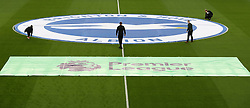 Banners are laid on the pitch prior to the Premier League match at the AMEX Stadium, Brighton.