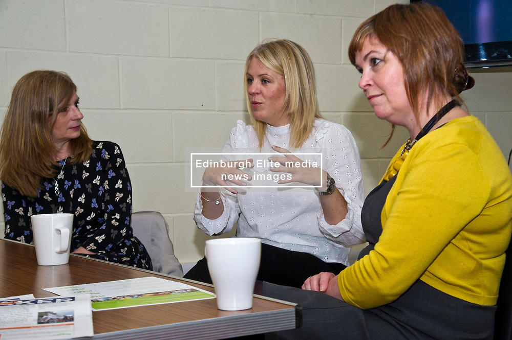 Pictured: Anne Crandless , manager Link Worker Network; Alison Leitch, Team Lead4e Community Link Work, Fiona Cross Ripple Director<br /> <br /> Public Health Minister Aileen Campbell and Cosla health and social care spokesman Peter Johnston visited the Ripple project in Edinburgh today to launch their joint launch public health priorities for Scotland<br /> <br /> Ger Harley   EEm 14 June 2018