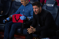 Diego Pablo Simeone waiting for start of the match during the La Liga match between Barcelona and Atletico Madrid at Camp Nou, Barcelona, Spain on 21 September 2016. Photo by Eric Alonso.
