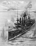 Russo-Japanese War 1904-1905:  Russian cruiser 'Varyag' receiving her death-blows from the Japanese fleet at the Battle of Chemulpo, February 1904