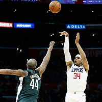 04 March 2018: LA Clippers forward Tobias Harris (34) takes a jump shot over Brooklyn Nets forward Dante Cunningham (44) during the LA Clippers 123-120 victory over the Brooklyn Nets, at the Staples Center, Los Angeles, California, USA.