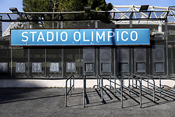 Ticket booths at the stadium before the Guinness Six Nations match at The Stadio Olimpico, Rome.
