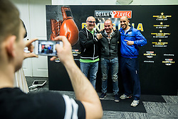 Dejan Zavec with Italian coaches during Official weighting ceremony one day before Dejan Zavec Boxing Gala event in Ljubljana, on March 10, 2017 in Grand Hotel Union, Ljubljana, Slovenia. Photo by Vid Ponikvar / Sportida