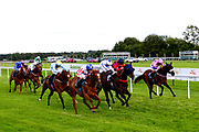 Buckingham ridden by Charles Bishop trained by Eve Johnson Houghton, Mr Tyrrell ridden by Rossa Ryan trained by Richard Hannon, Apex King ridden by Pat Cosgrave trained by Ed de Giles, Secret Return ridden by Paddy Bradley and trained by Robyn Brisland, Kingston Kurrajong ridden by Hollie Doyle and trained by William Knight, Rectory Road ridden by David Probert and trained by Ronald Harris, Poetic Force ridden by Tom Marquand and trained by Tony Carroll, Tell William ridden by Martin Dwyer and trained by Marcus Tregoning and Rock Icon ridden by Jimmy Quinn and trained by Michael Appleby in the Visit Valuerater.co.uk For Free Tips Handicap - Mandatory by-line: Dougie Allward/JMP - 10/07/2020 - HORSE RACING - Bath Racecourse - Bath, England - Bath Races