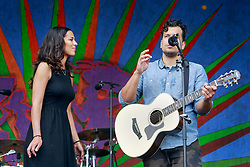 02 May 2014. New Orleans, Louisiana.<br /> Amanda Sudano  of Jonnyswim at the New Orleans Jazz and Heritage Festival. <br /> Photo; Charlie Varley/varleypix.com